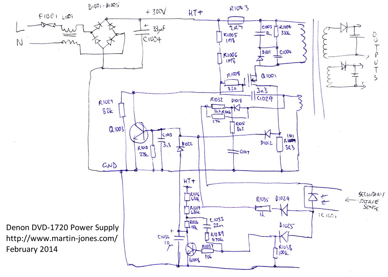 Denon Dvd 1720 Dvd Player Power Supply Schematic And Repair on transformer schematic diagram